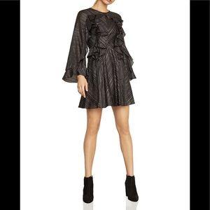 NWT BCBGMAXAZRIA Sz L Black Ruffle Metallic Dress